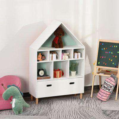 HOMCOM Kids Bookshelf Chest w/ Drawer Cubes Baby Toy Wood Organizer Display Stand Storage Cabinet 82x30x126cm White