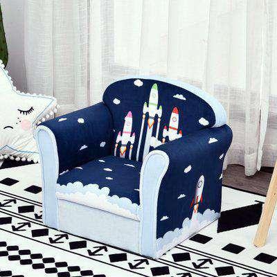 HOMCOM Kids Cartoon Rocket Wooden Frame Single Armchair Sofa Blue