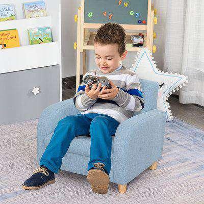 HOMCOM Kids Elevated Linen Upholstered Armchair Blue