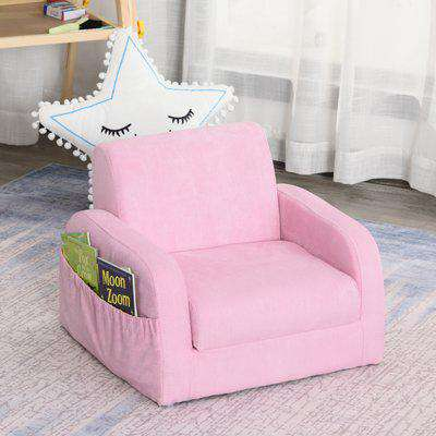 HOMCOM Kids Flannel Upholstered 2-in-1 Armchair Lounger Pink