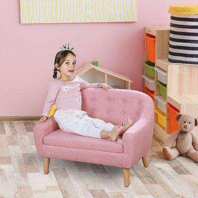 HOMCOM Kids Mini Sofa Children Armchair Seating Chair Bedroom Playroom Furniture Wood Frame Pink
