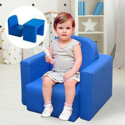HOMCOM Kids Mini Sofa 3 in 1 Table Chair Set Children Armchair Seat Relax Game Playroom Seater Girl Boys Blue