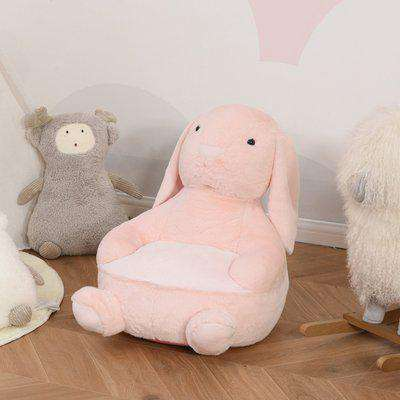 HOMCOM Kids Sofa Chair Children Plush Armchair Stuffed Cute Rabbit Toy Support Seat Learning Sitting Baby Nest Sleeping Cushion 60 x 50 x 59cm Pink