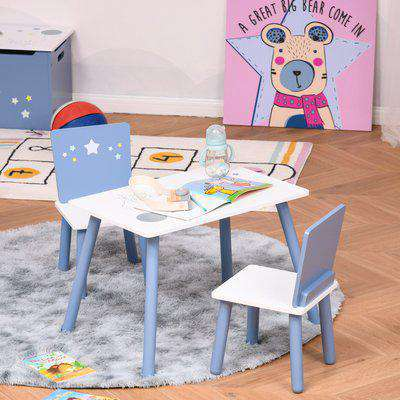 HOMCOM Kids Table and Chairs Set 3 Pieces 1 Table 2 Chairs Toddler Wooden Multi-usage Easy Assembly Star Image Ornament Blue and White