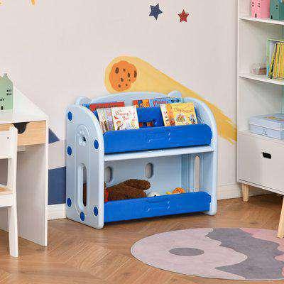 HOMCOM Kids Toy Storage Organizer Bookshelf Unit with 2-layer Storage Rack Box with Flip Lid for Bedroom Playroom Living Room Nursery Blue