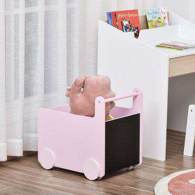 HOMCOM Kids Toys Storage Cabinet Rolling Storage Cart on Wheels Craft Storage Containers Bins Can Move everywher for Toddlers 1-4 Years Old, Pink