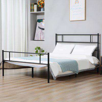 HOMCOM King Metal Bed Frame Solid Bedstead Base with Headboard and Footboard, Metal Slat Support and Underbed Storage Space, Bedroom Furniture