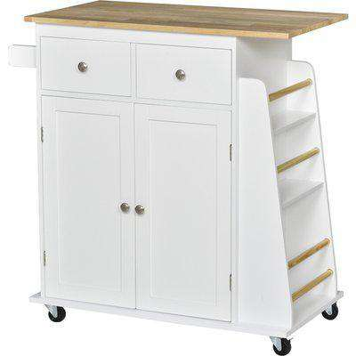 HOMCOM Kitchen Island Storage Cabinet Rolling Trolley with Rubber Wood Top, 3-Tier Spice Rack, Large Cabinet & Drawers