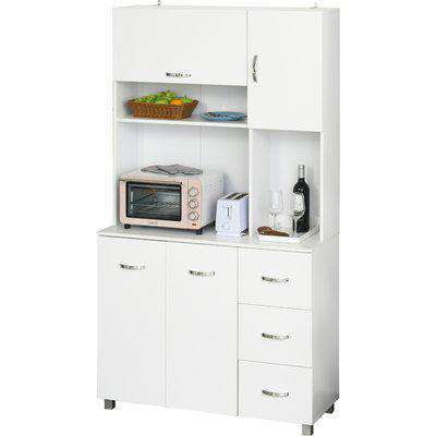 HOMCOM Kitchen Pantry Multi Storage Cupboard Cabinet Buffet Server Sideboard, Bookcase with Drawers for Living Room Modern, 100W x 39.5D x 183.5Hcm