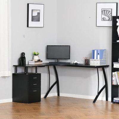 HOMCOM L-Shaped Computer Desk Table with Storage Drawer Home Office Corner Industrial Style Workstation, Black