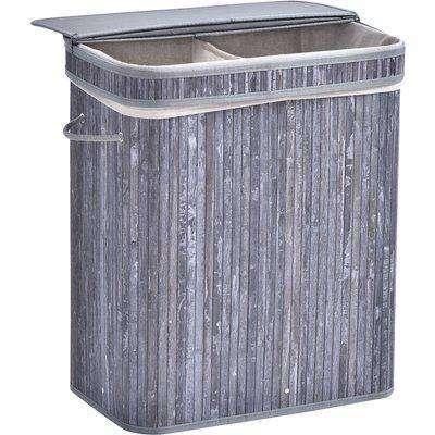 HOMCOM 70L 2-Compartment Bamboo Laundry Basket Grey