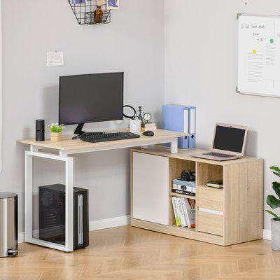 HOMCOM L-Shaped Home Office Writing Desk with Storage Shelf, Drawer, Corner PC Table Computer Workstation, Oak Beige White