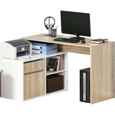 HOMCOM L-Shaped Corner Computer Desk Study Table PC Work w/ Storage Shelf Drawer Office, Oak and White