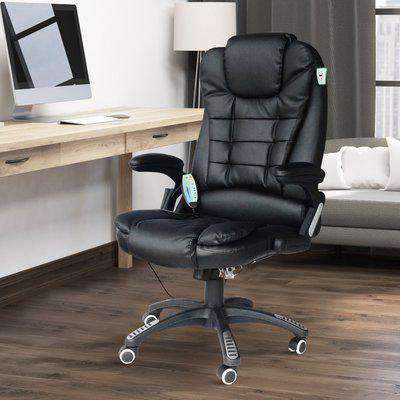 HOMCOM Leather Office Chair Ikea Style PU Massage Function Deluxe Reclining Faux Computer 6-Point Massage Back Black