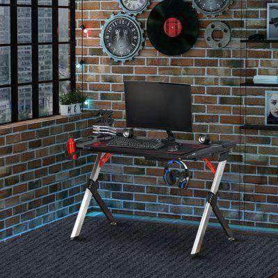 HOMCOM LED Breathing Lights Gaming Table Computer Desk Carbon Fiber Feel Desktop Steel Frame with Cup Holder, Headphone Hook, Basket, Black