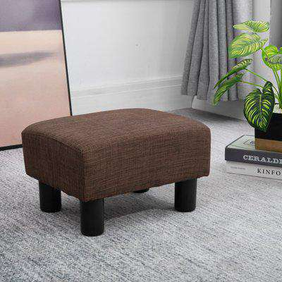 HOMCOM Linen Fabric Footstool Ottoman Cube w/ 4 Plastic Legs Black