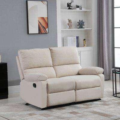 HOMCOM Linen Fabric 2 Seater Sofa Modern Manual Reclining Armchair