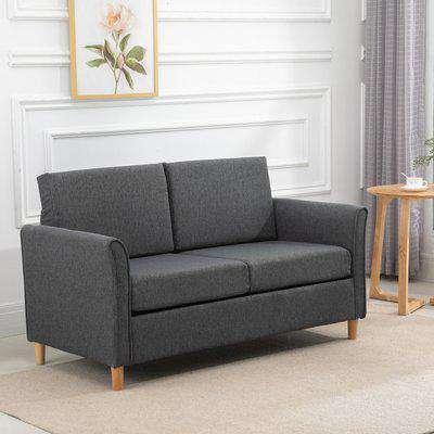 HOMCOM Linen Upholstery 2-Seater Sofa Floor Sofa Living Room Furniture w/Armrest Wooden Legs Dark Grey
