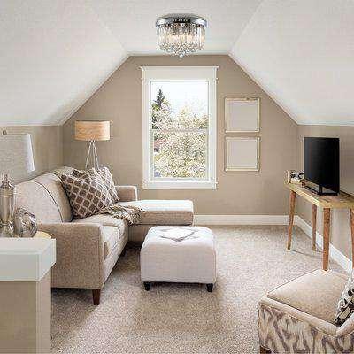 HOMCOM Luxurious Modern Crystal Ceiling Light Crystal Chandelier for Living Room, Dining Room, Hall, E14 Base, Silver