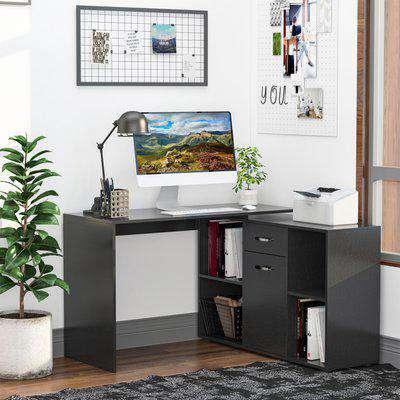 HOMCOM MDF Adjustable L-Shaped Computer Desk, 20Lx115Wx76H cm-Black