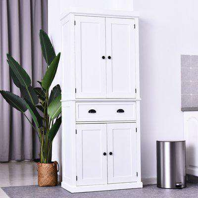 HOMCOM MDF Colonial Freestanding Kitchen Pantry Cabinet White