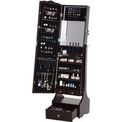 HOMCOM MDF Freestanding Jewellery Cabinet Full Length Mirror w/ LED Light Brown