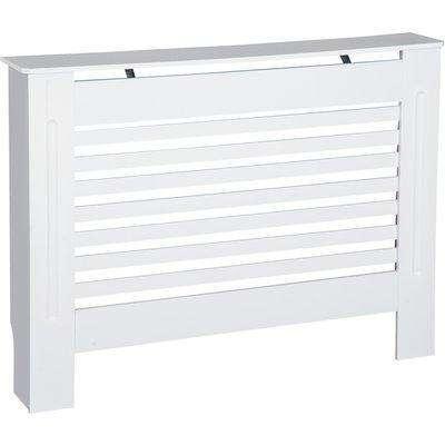 HOMCOM MDF Modern Radiator Cover Cabinet Top Shelving Home Office Slatted Design White 112L x 19W x 81H cm