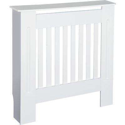 HOMCOM MDF Radiator Cover Wooden Cabinet Shelving Home Office Vertical Slattted Vent White 78L x 19W x 81H