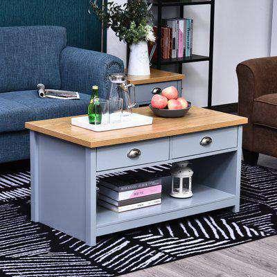 HOMCOM MDF Rustic 2-Drawer Coffee Table Grey