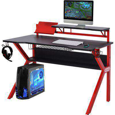 HOMCOM MDF Spacious Gaming Desk Workstations for Home and Office w/ Cup Holder Red