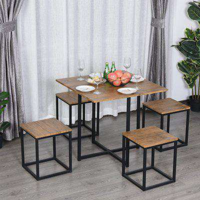 HOMCOM MDF Topped Steel 5-Piece Dining Set Dining Table with 4 Stools Black/Brown