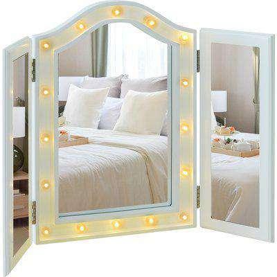 HOMCOM MDF Tri-Fold LED Vanity Mirror w/ 16 Spotlights White