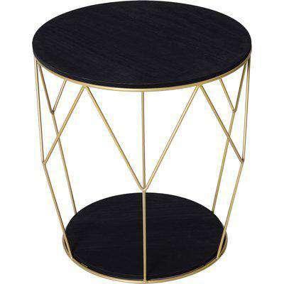 HOMCOM Metal Base MDF Surface Lift-Top Side Table Black/Gold