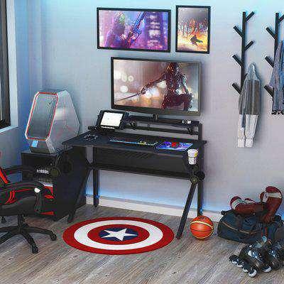 HOMCOM Metal Frame Gaming Computer Desk w/Cup Holder Headphone Hook & Cable Basket Black