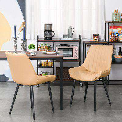 HOMCOM Mid Century Dining Chairs Set of 2, PU Leather Upholstered Side Chairs Seat for Kitchen Living Room with Metal Legs, Beige