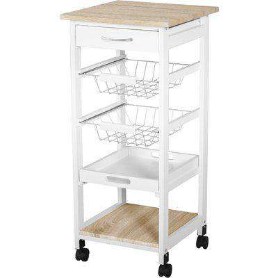 HOMCOM Mobile Rolling Kitchen Island Trolley for Living room, Serving Cart with Drawer & Basket, White