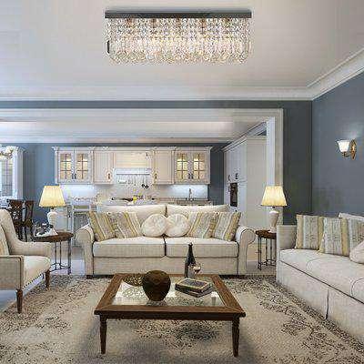 HOMCOM Modern Crystal Ceiling Light Square Crystal Chandelier for Living Room, Dining Room, Hall, E14 Base, Silver