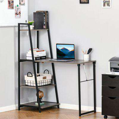 HOMCOM Modern Foldable Office Desk with Storage Shelf Freestanding Computer Workstation Dining Table for Home Office, Grey