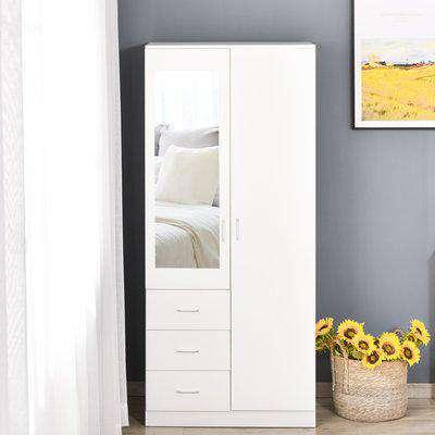 HOMCOM Modern Mirror Wardrobe 2 Door Storage Cupboards Home Storage Organisation Furniture with Adjustable Shelf, 3 Drawers, 80W x 50D x 180Hcm-Whit