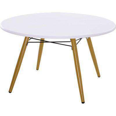 HOMCOM Modern Round Coffee Tea Table White Storage MDF Side End W/Solid Pine Legs Scandinavian Retro D80 x 45H cm