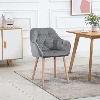 HOMCOM Modern Tufted Dining Chair Velvet-Touch Fabric Upholstered Leisure Chair with Wood Legs, Light Grey