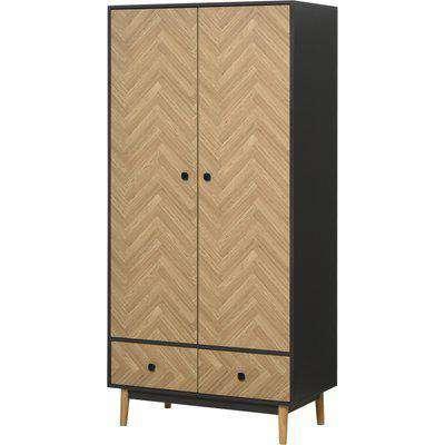 HOMCOM Modern Wardrobe Cabinet Wood Grain Sticker Surface with Shelf, Hanging Rod and 2 Drawers 90x50x190cm