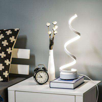 HOMCOM Modern Wave-Shaped LED Table Lamp with Round Metal Base for Living Room, Bedroom, Study, Dining Room, Office, Cool White 6000K, White