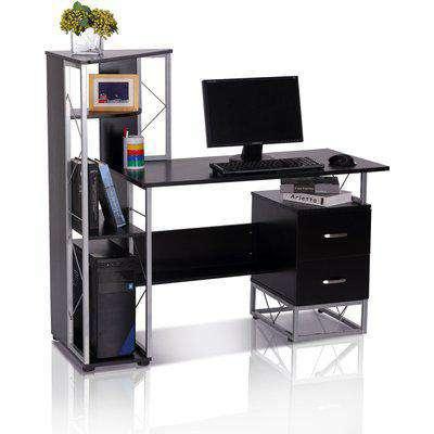 HOMCOM 133L x 55W x 123H cm Multi-Level Steel Wood Computer Workstation Desk With Shelves And Drawers, Black