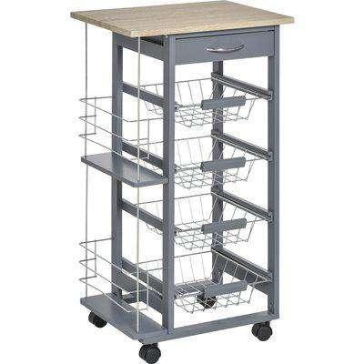 HOMCOM Multi-Use Kitchen Island Trolley w/ 4 Baskets 2 Side Racks 4 Wheels Food Storage Smooth Rolling Compact Furniture Dark Grey
