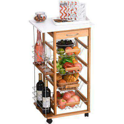 HOMCOM Multi-Use Kitchen Island Trolley w/ 4 Baskets 2 Side Racks Drawer Worktop 4 Wheels Worktop Kitchen Food Storage White Brown