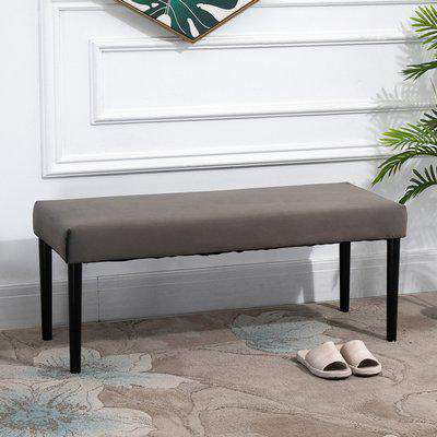 HOMCOM Multipurpose Modern Shoe Bench Ottoman Velvet Style Fabric Stool for Entryway Living Room Porch Grey