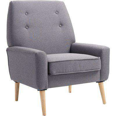 HOMCOM Nordic Single Cushion Padded Chair Wooden Armchair Button Tufted Seat Linen