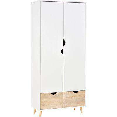 HOMCOM Particle Board 2-Drawer Wardrobe White/Oak