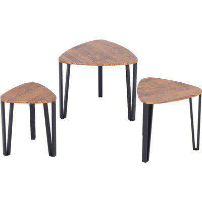 HOMCOM 3 PCs Stackable Coffee Table Set Accent Furniture MDF Steel Frame Walnut
